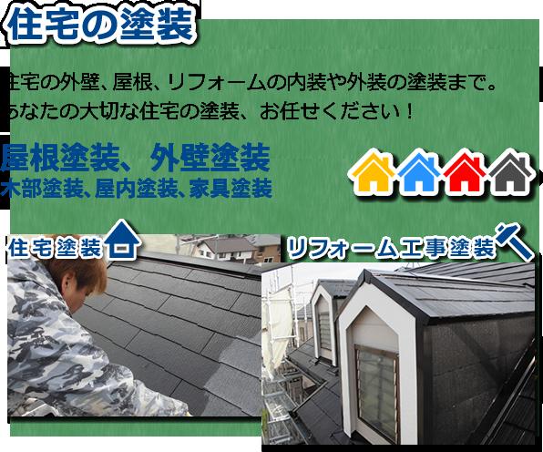 住宅の塗装 住宅の外壁、屋根、リフォームの内装や外装の塗装まで。あなたの大切な住宅の塗装、お任せください!